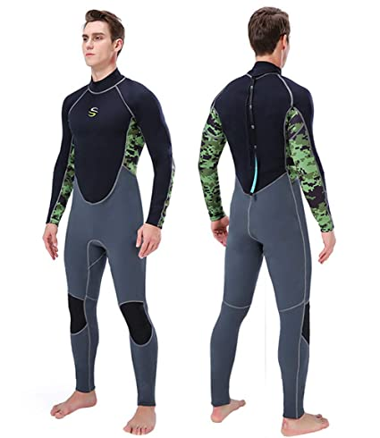 b4e2ec6cd7 Neoprene Wetsuit Men 2MM Full Body Diving Suit Back Zip Long Sleeve Surfing  Wetsuit One Piece Thermal UV Protection Wet Suit for Scuba Snorkeling  Swimming