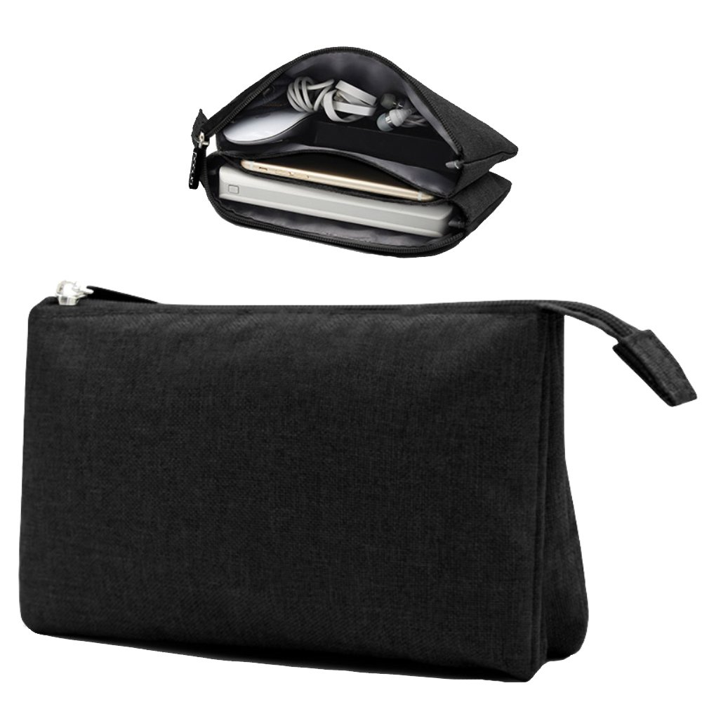 Honeystore Double Layer Accessories Organizer Small Travel Electronics Cable Organizer Digital Accessories Storage Pouch Case Travel Organizer Bag for USB Cable, Power Bank, Earphone, Phone Black