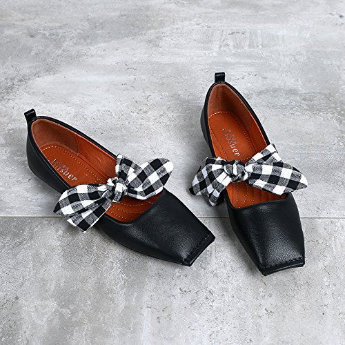 square mouth flat shoes thin Black bottom knot shoes shallow Women's soft butterfly t1YqwRt