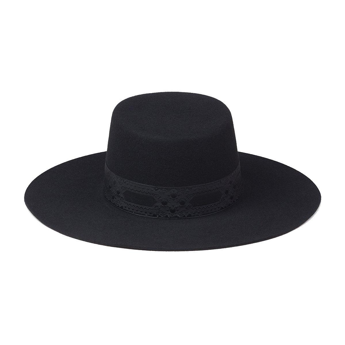 Lack of Color Women's The Sierra Wide-Brimmed Wool Boater Hat (Black, Medium (57cm))