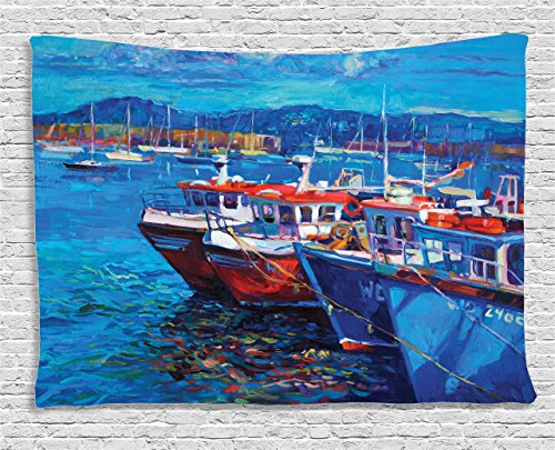 (Ambesonne Country Tapestry, Sail Boats Ships on The Shore Harbor by The Sea Small Rural Fishing Town Artwork, Wide Wall Hanging for Bedroom Living Room Dorm, 60