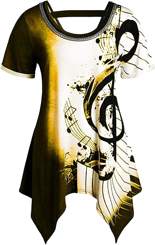 Hink Pullover Women Asymmetrical Irregular Musical Notes Print Chains Embellished Tee Top Blouse Yellow