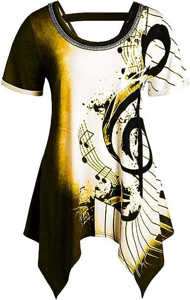 Mujeres Asimétricas Notas Musicales Estampado de Cadenas Adornado Camiseta Top Blusa Camisetas Tirantes para Mujer Sexy del Tanque Tops Chaleco Primavera Verano Otoño Camisa: Amazon.es: Ropa y accesorios