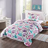 MarCielo 2 Piece Kids Bedspread Quilts Set Throw Blanket for Teens Boys Girls Bed Printed Bedding Coverlet, Twin Size (Purple Hoot)
