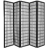 Oriental Furniture 6 ft. Tall Window Pane Shoji Screen - Black - 5 Panels