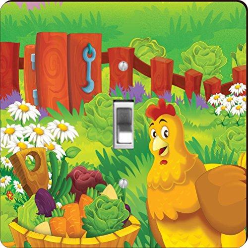 Rikki Knight RK-LSPS-44601 Cute Rooster Cartoon with Farm...