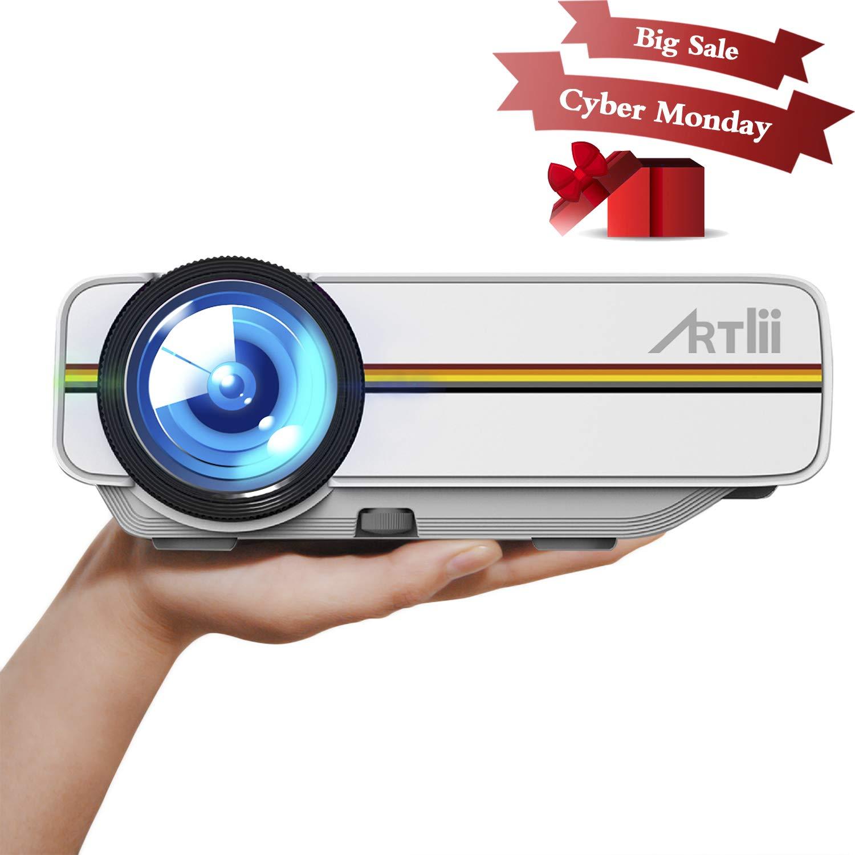 Artlii Proyector Led, Mini Videoproyectores 1200 lú menes Portá til Proyector Full HD 1080p Casa Cine (Blanco) Mini Videoproyectores 1200 lúmenes Portátil Proyector Full HD 1080p Casa Cine (Blanco) Artlii-Portable