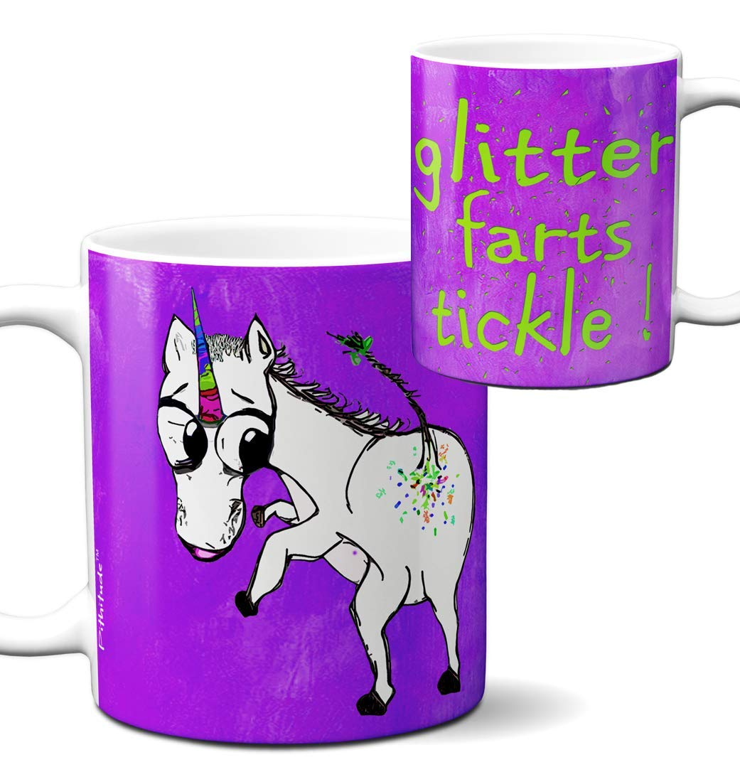 Unicorn Glitter Farts Mug by Pithitude - One Single 11oz. White Coffee Cup 3