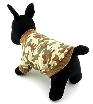 ifamili pequeñas mascotas ropa para perros gatos 100% algodón camiseta, diseño de camuflaje diseño de camuflaje marrón: Amazon.es: Productos para mascotas