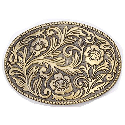 Karaqusa Flower Tattoo Belt Buckle Western Cowboy Native American (TT-02-G)