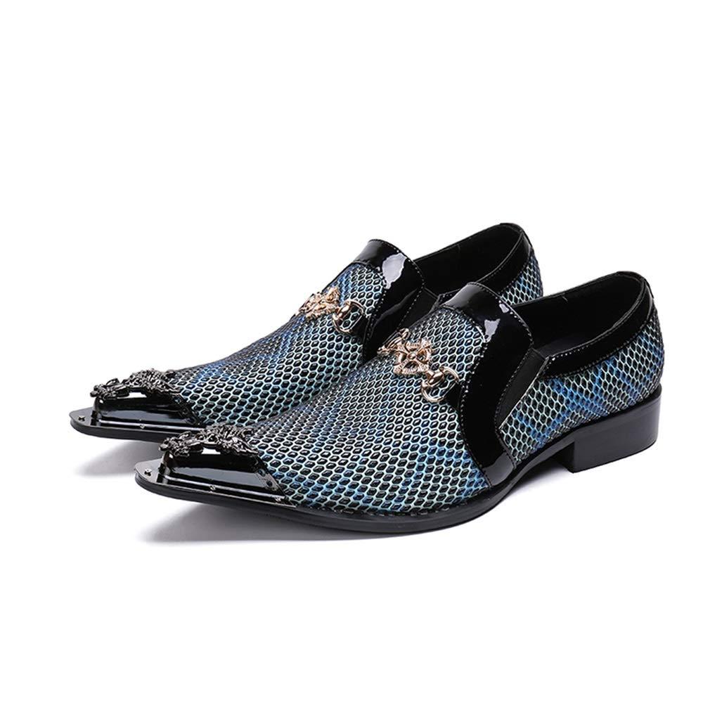 Hy Herrenschuhe, Leder Herbst Winter Flut Fluss Persönlichkeit Rivet Schuhe, Schuhe, Schuhe, formelle Business-Schuhe, Freizeitschuhe Hochzeitsschuhe (Farbe   Blau, Größe   43) 5b5a99