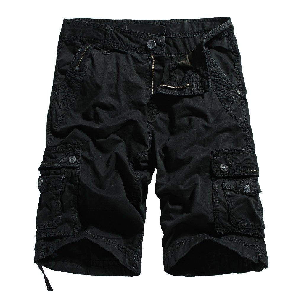 OCHENTA Men's Cotton Lesuire Multi Pockets Cargo Shorts Black 40