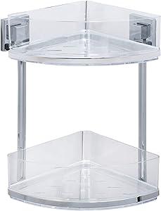 Wenko Vacuum-Loc Quadro Wall-Mounted 2-Tier Corner Rack, No Drilling Required, Chrome