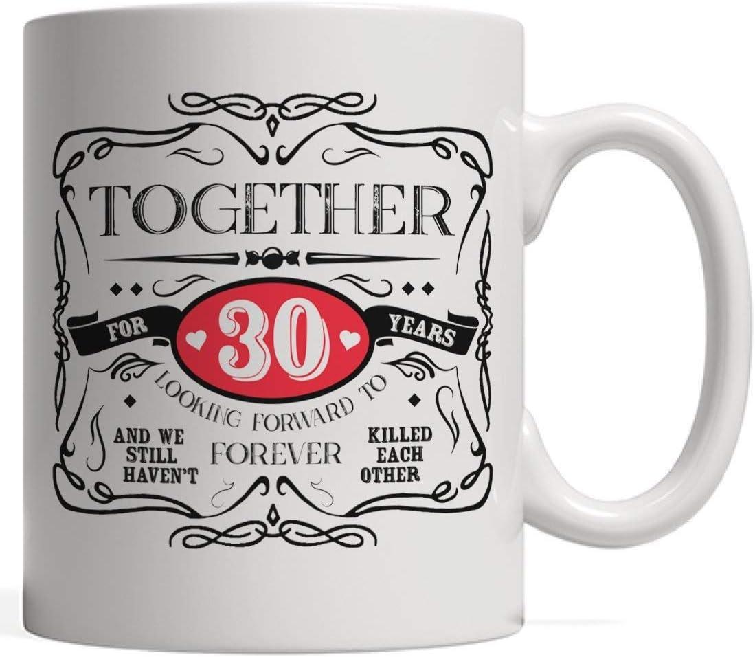 Taza de Cerámica,30 aniversario de matrimonio o regalo de matrimonio | Regalo de boda del trigésimo año para la pareja casada que celebra 30 años juntos Taza para el esposo y la esposa Novia o novio