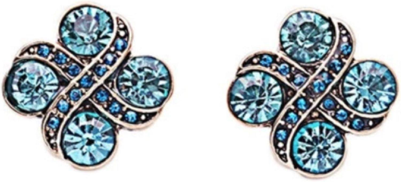 Pendientes de cruz de cristal azul aguamarina con oro envejecido cepillado y detalles de Swarovski