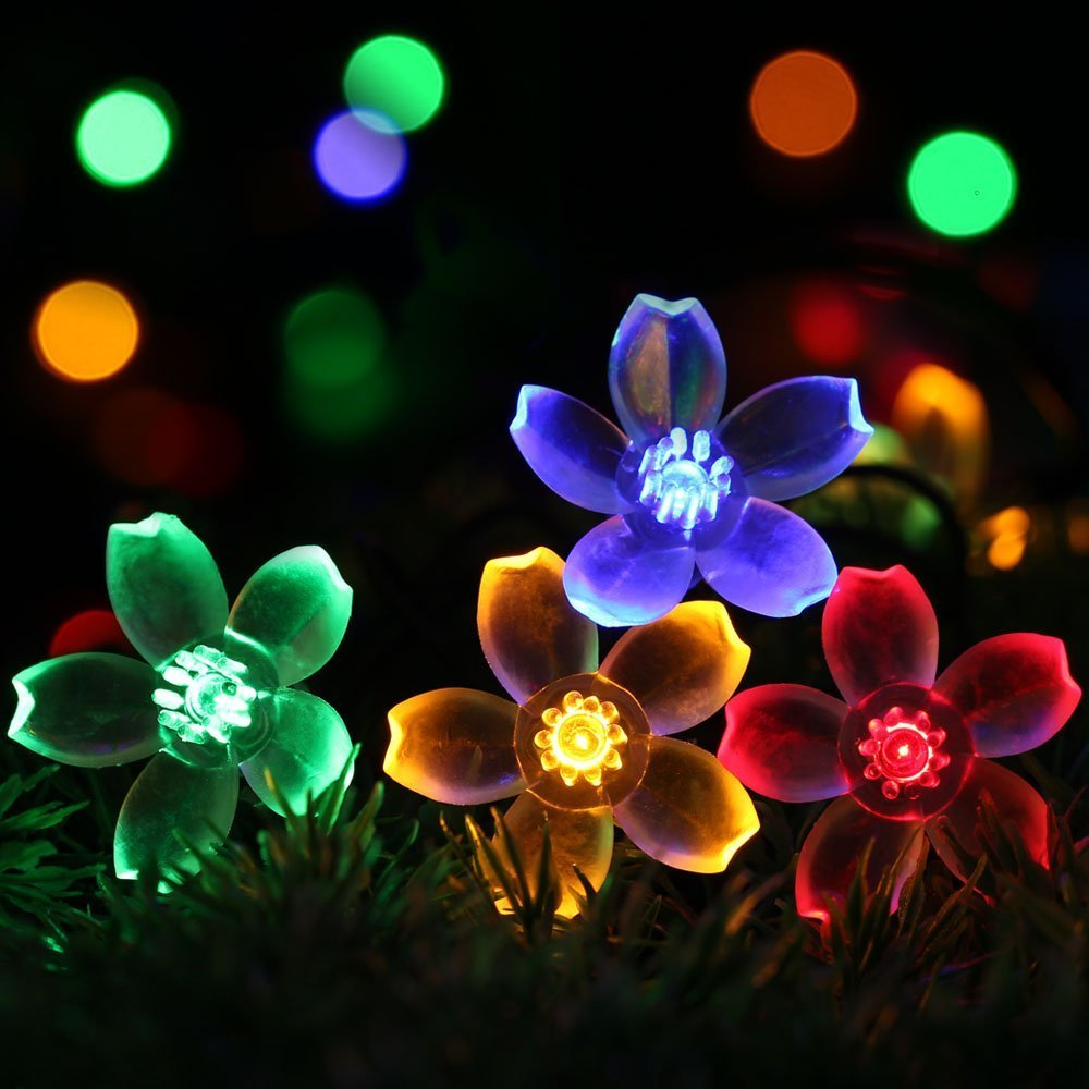easyDecor Solar String Lights 50 LED 23ft 8 Modes Blossom Flower Garden Christmas lights for Outdoor Indoor Party Wedding Patio Holiday Decorations (Multi Color) (1 PACK)
