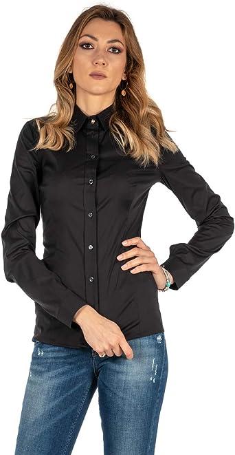 PATRIZIA PEPE Camisa Mujer Negra algodón Blusa Stretch BC0113/A01 K103 Negro 36: Amazon.es: Ropa y accesorios
