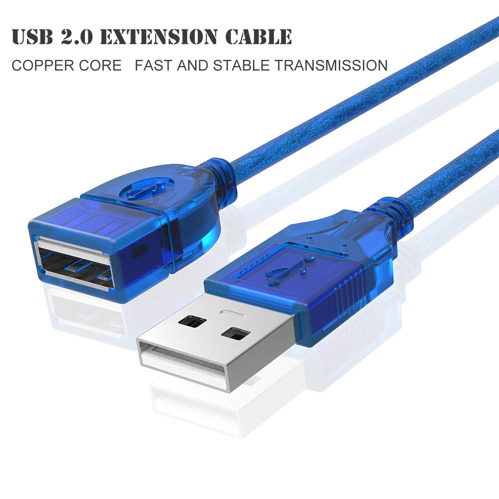 Vsireky USB 2.0 Type A Male to Female Extension Cable Cord in Blue 1//1.6//5//10//16 Feet Color : 5m