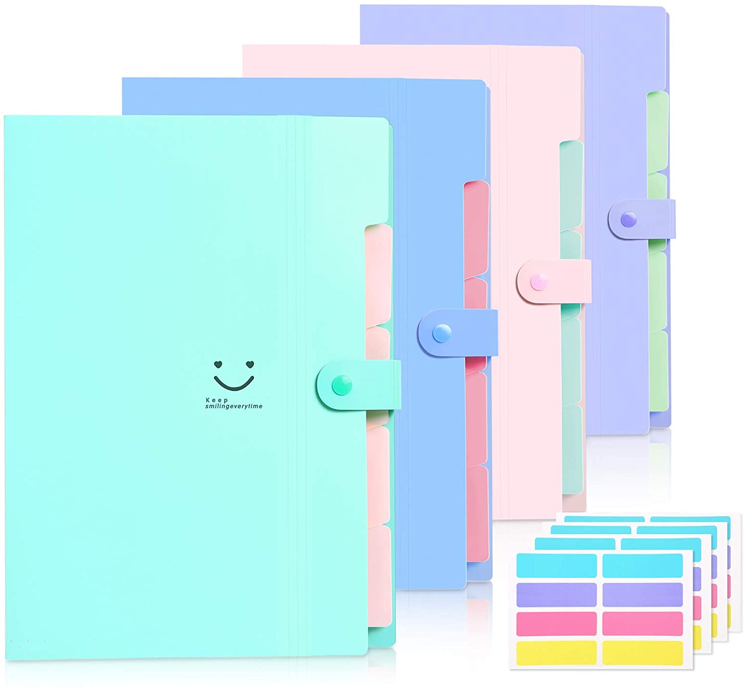 Skydue 4 Packs Expanding File Folder with 32 Labels,5 Pockets A4 Letter Size Accordion Folder Paper Organizer for School and Office