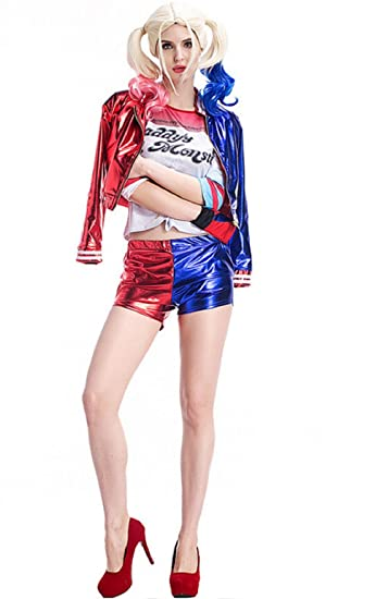 (Talla XL) Disfraz completo - Chaqueta - Jersey - Pantalones cortos - Guante - Harley Quinn - Mujer - Chica - Carnaval - Halloween - Cosplay - Suicide Squad ...