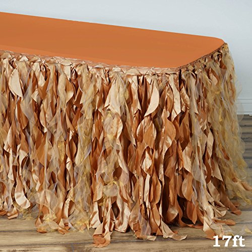 Tableclothsfactory 17ft Enchanting Curly Willow Taffeta Table Skirt - ()