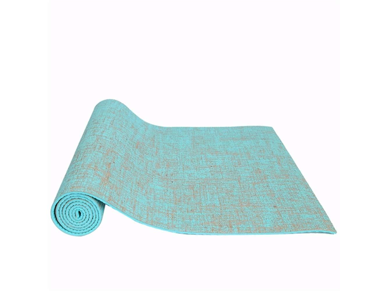 FERFERFERWON Übungszubehör Leinen-Yoga-Matte verlängert Fitness-Matte Rutschfeste Faltbare Yoga-Matte (Himmelblau) Trainingsgerät