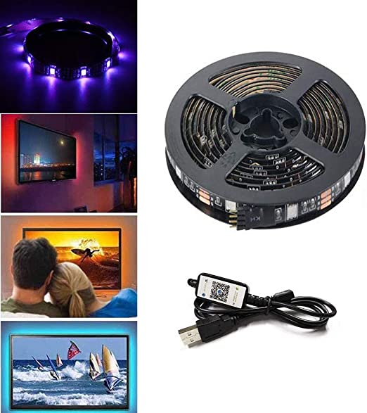 "Tiras LED de TV con Control de Aplicación, 4 x 0.5 m USB RGB Multicolores Música Retroiluminación de LED Controladas por Teléfono Inteligente para 40-60"" HDTV, Monitores y Decoración de bricolaje: Amazon.es: Iluminación"