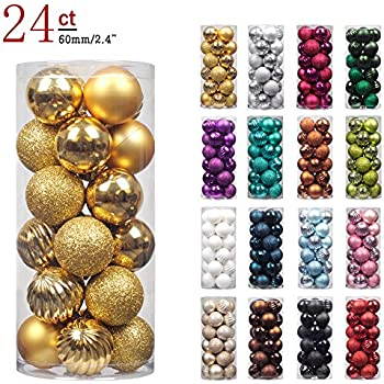 "KI Store 24ct Christmas Ball Ornaments Shatterproof Christmas Decorations Tree Balls for Holiday Wedding Party Decoration, Tree Ornaments Hooks included 2.36"" (60mm Gold)"