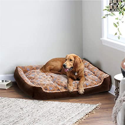 Amazon.com : AIgouda Warm Corduroy Padded Dog Bed Waterproof Washable Pet House Mat Soft Sofa Kennel House Brown S 45x30cm : Pet Supplies