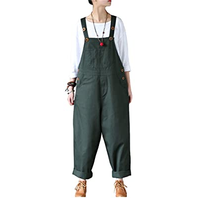 b878420ab3c0 Aeneonture Women s Casual Cotton Wide Leg Pants Low Crotch Jumpsuits Bib Overall  Army Green