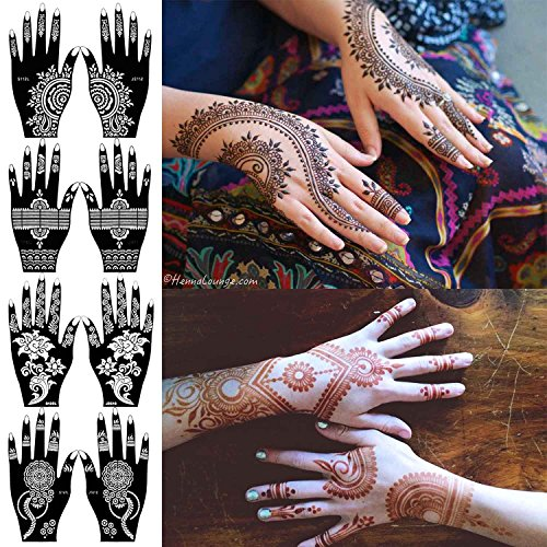 COKOHAPPY 8 Sheets Hand Indian Painting Tattoo Stencil Self-Adhesive Body Art Designs for Hands - Temporary Indian Arabian Tattoo Reusable Stickers from COKOHAPPY