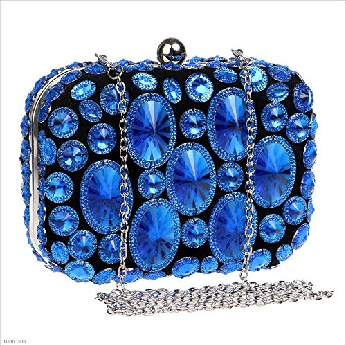 Ladies Clutch d'embrayage Party Crystal Womens Bleu soirée de Couleur Box Styhatbag Girls Sac Or Clutch qw5ZnUF