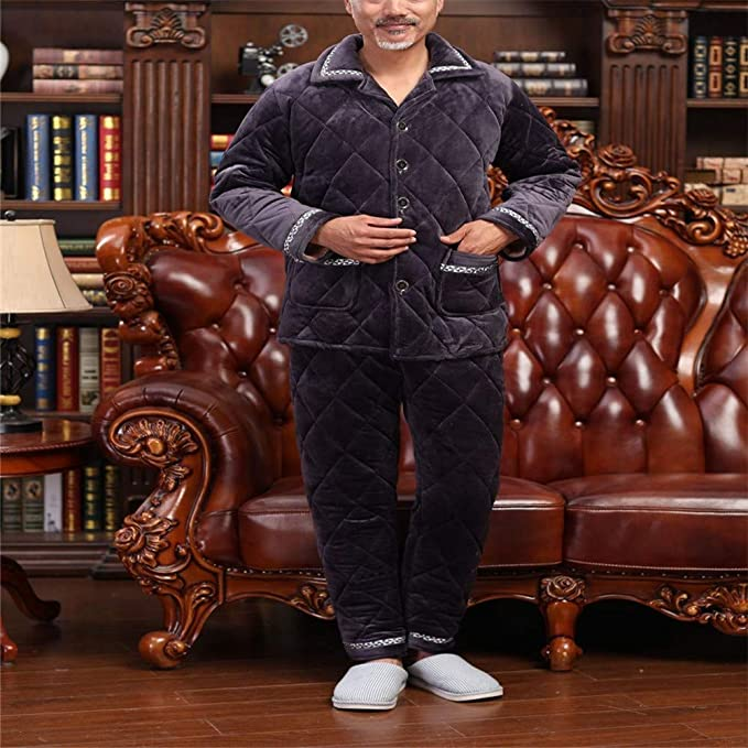 Lonimor Autumn Winter Men Pajamas Coral Velvet Thickening Quilted Suit Home Service
