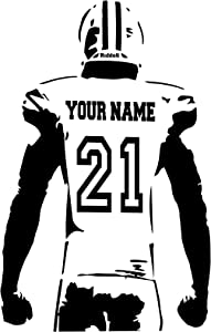 """Personalized Custom Football Wall Decal - Choose Your Name & Numbers Custom Player Jerseys Vinyl Decal Sticker Decor Kids Bedroom (23"""" W x 36"""" T)"""
