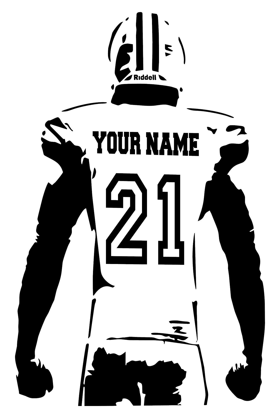 Personalized Custom Football Wall Decal - Choose Your Name & Numbers Custom Player Jerseys Vinyl Decal Sticker Decor Kids Bedroom (29'' W x 46'' T)