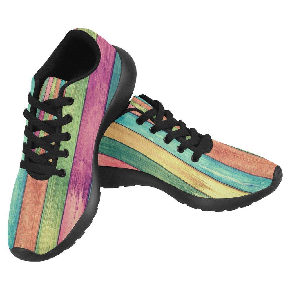InterestPrint Women's Jogging Running Sneaker Lightweight Go Easy Walking Casual Comfort Running Shoes Size 8 Vintage colorful Wood