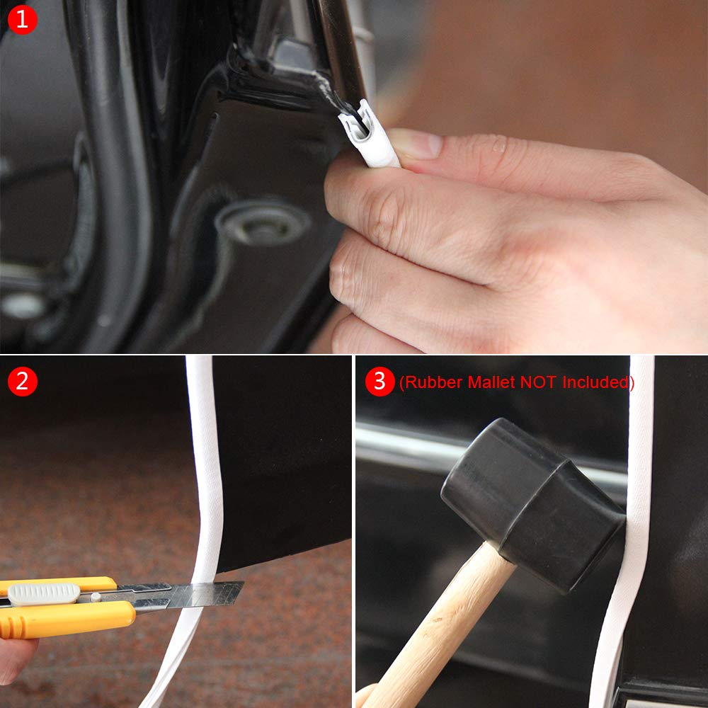 5M Universal Fit Rubber U Shape Edge Trim Car Door Edge Protection Winunite Bright White Car Door Edge Guards 16Ft