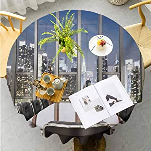 "Jktown Modern Printed Round Tablecloth Business Office Conference Room Table Chairs City View at Dusk Realistic Photo Buffet Table Holiday Dinner Picnic Diameter 50"",Grey Black Blue"