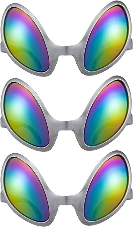 Adult Fancy Dress Up Childrens Party Favor Light Up Alien Goggles Grey Pack Of 3
