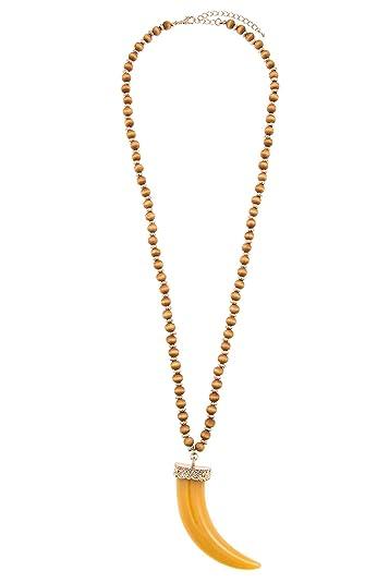 4b0b914aa3423 GlitZ Finery Large Horn Pendant Wood Bead Necklace (Yellow): GlitZ ...