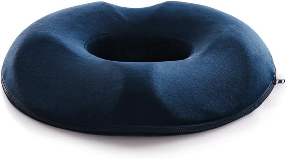 RXF Donut Cushion Memory Foam Cómodo Cojín de Cola de Caballo Acné/Próstata / Embarazo/Alivio posoperatorio/Almohada de Maternidad Transpirable (Color : Blue, Tamaño : Suede)