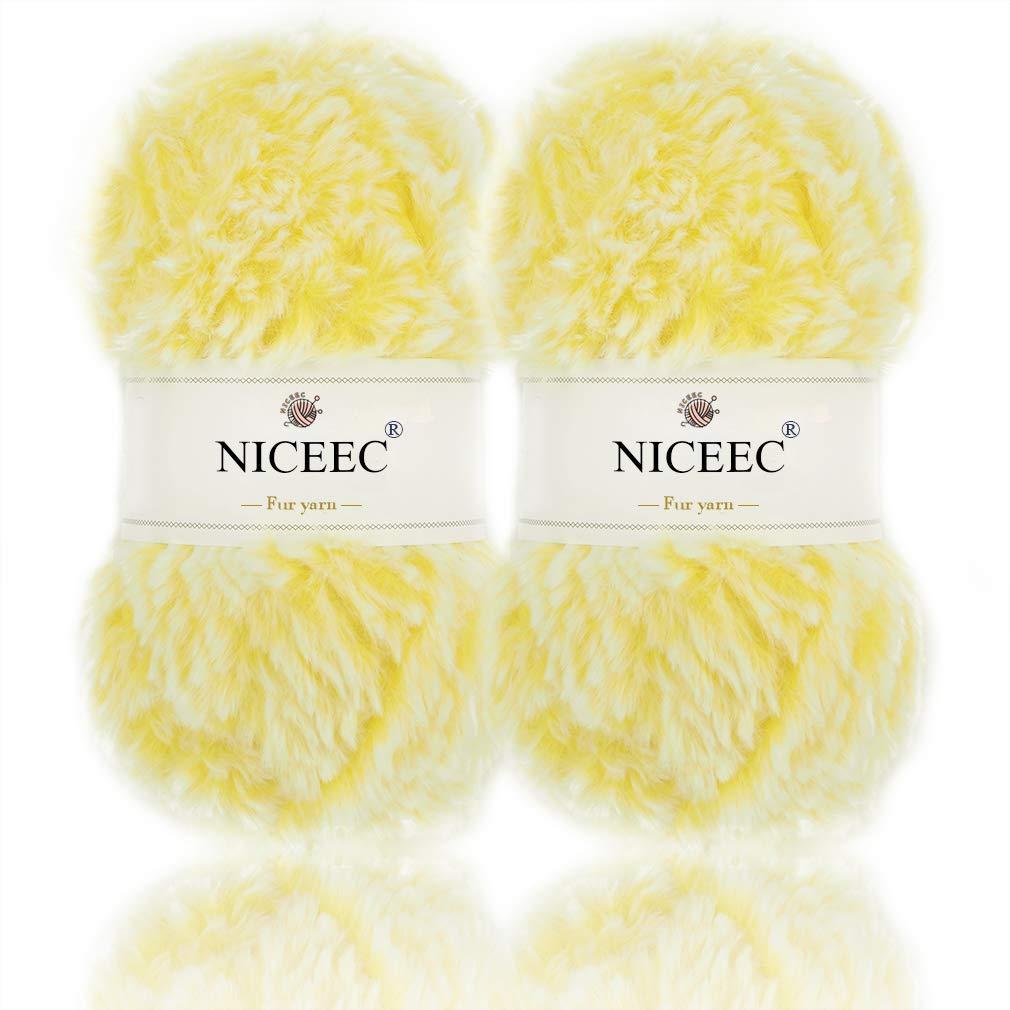 NICEEC 2 Skeins Super Soft Fur Yarn Chunky Fluffy Faux Fur Yarn Eyelash  Yarn for Crochet Knit-Total Length 2×32m(2×35yds,50g×2)-Yellow