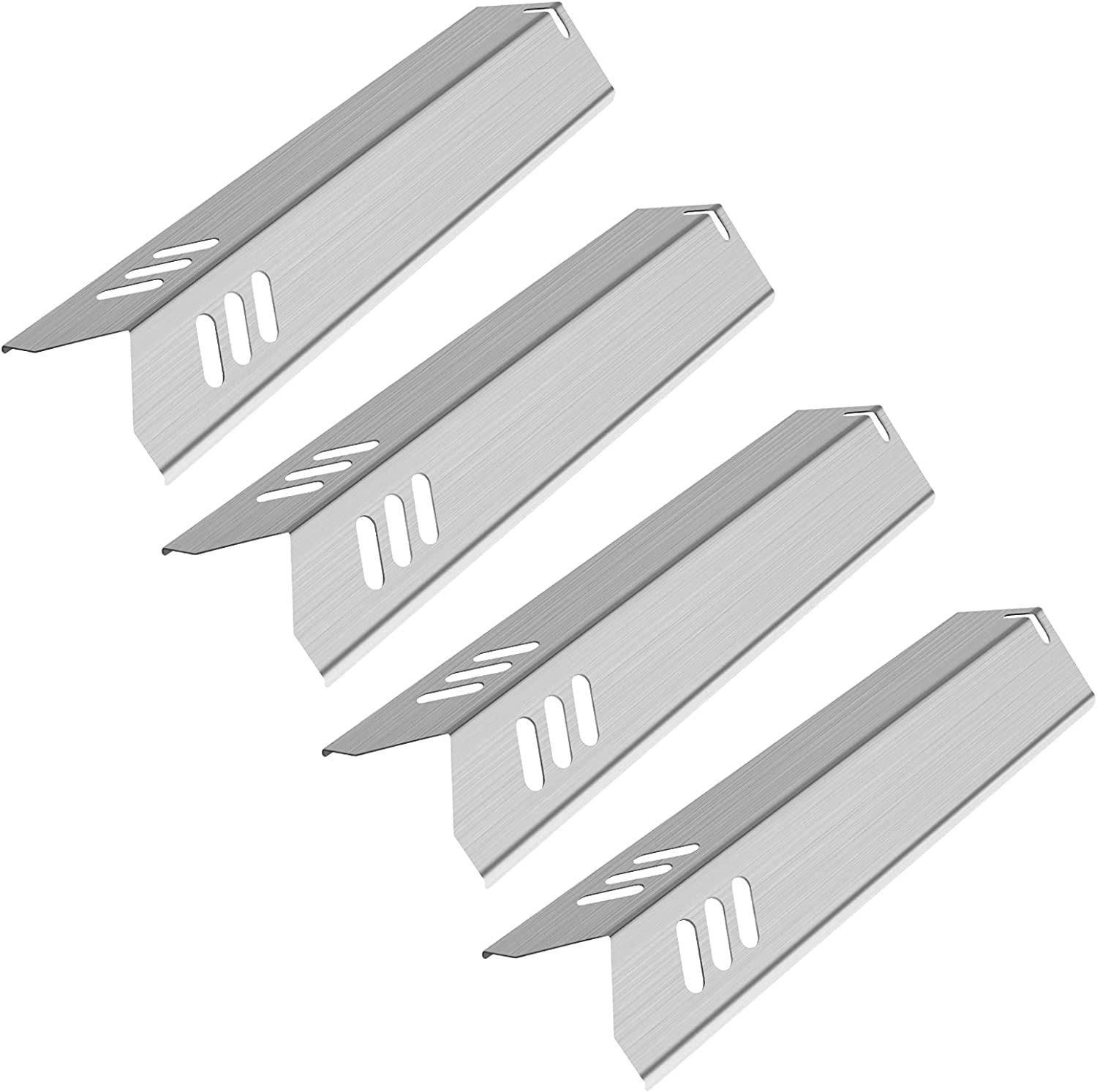 Kalomo 15 Inch Stainless Steel Grill Heat Plates Shield Burner Covers Flame Tamer, BBQ Gas Grill Replacement Parts for Dyna-Glo DGF510SBP, Backyard BY13-101-001-13, Uniflame GBC1059WB, BHG Model, 4Pcs