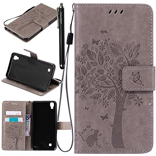 LG X Power Case, LG K6P Case, Linkertech [Kickstand Feature] PU Leather Wallet Flip Pouch Case Cover with Wrist Strap & Card Slots for LG X Power (Gray)