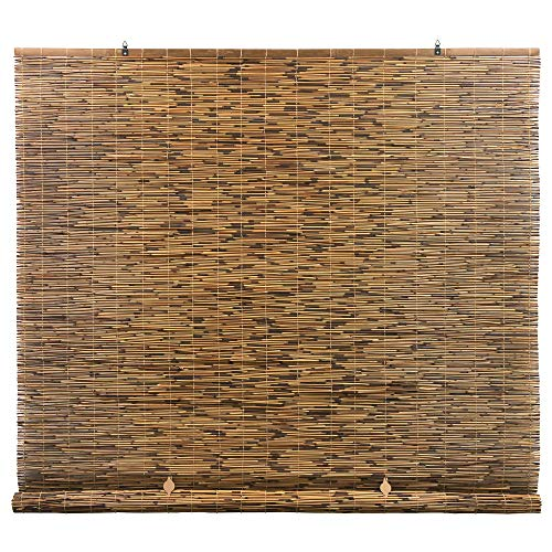 RADIANCE Cord Free, Roll-up Reed Shade, Natural, 72 x 72, Cocoa (Best Quality Roller Blinds)