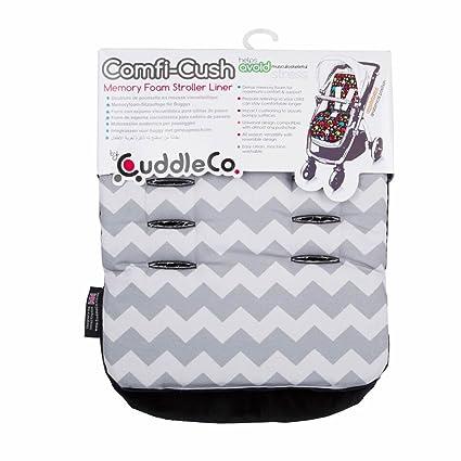 Forro para cochecito de espuma con memoria reversible universal Comfi-Cush con patrón de zig zag / chevrón gris