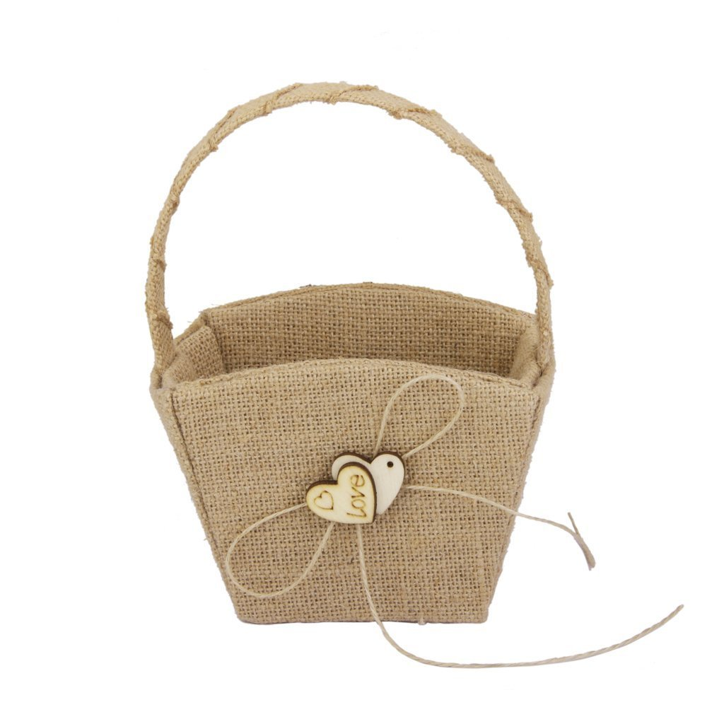 WEIYI Vintage Wedding Burlap Wooden Heart Shaped Basket for Gift Decoration by WEIYI (Image #1)