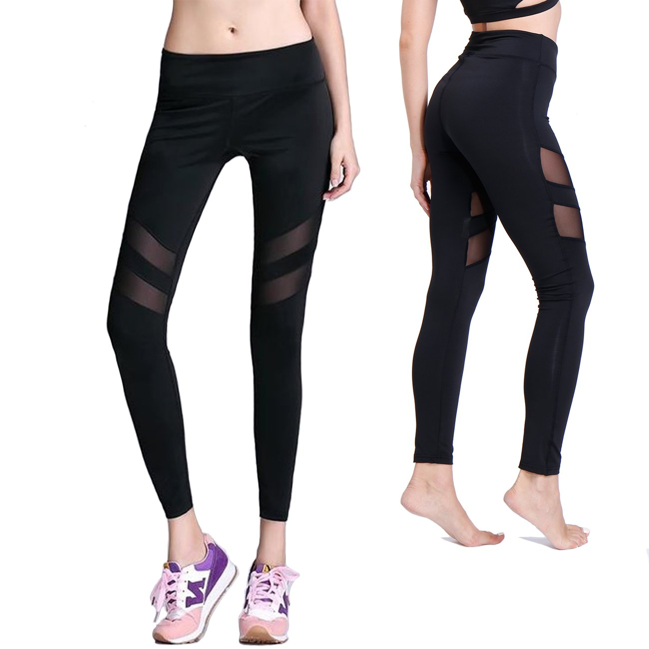 KIWI RATA Women Sports Mesh Trouser Gym Workout Fitness Capris Yoga Pant Legging (XL, Black #5)