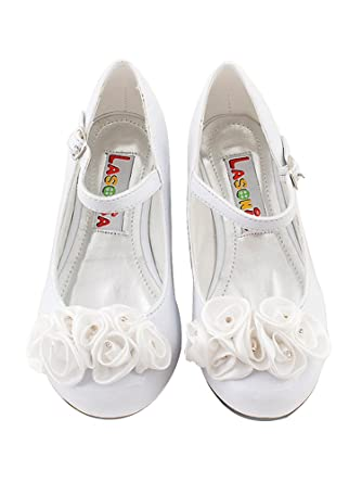 Amazon clearance roses ornamental flower girl shoes clothing wonderfuldress clearance roses ornamental flower girl shoes white 2 m us little kid mightylinksfo
