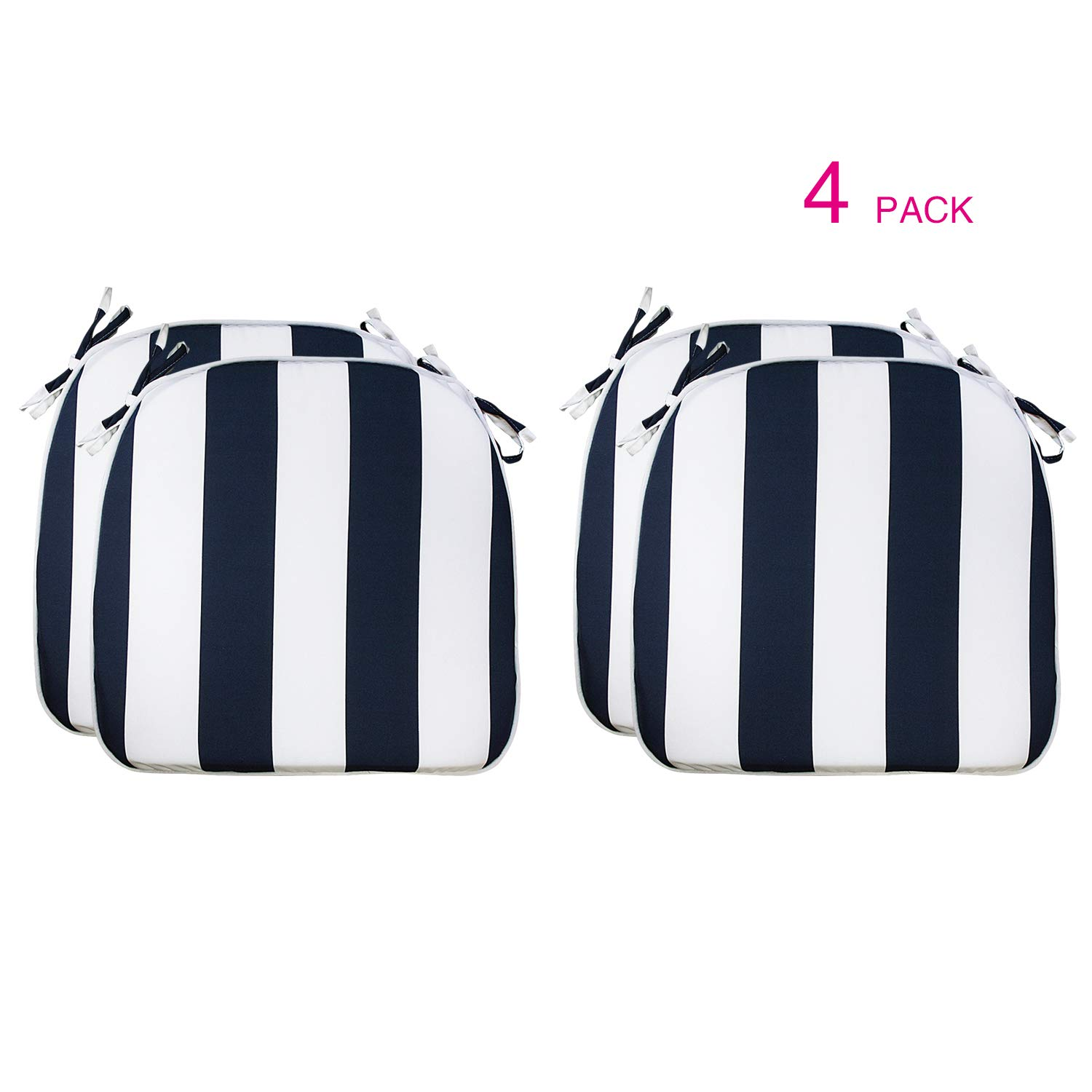 Fabritones Outdoor Cushions 16x17 Inches 4 Pack Comfortable Seat Pads Navy Stripe Pattern Square Chair Pads for Outdoor Patio Furniture Garden Home Office